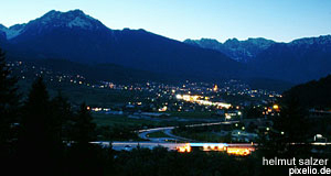 Imst in Tyrol at dawn during the skiing season