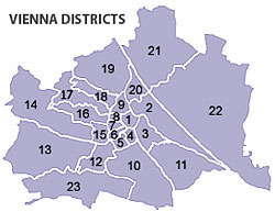 The districts of Vienna spiral out from the city centre in a semi-logical manner