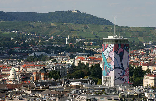 View from Stephansdom Cathedral to Mount Leopoldsberg & the Ringturm Tower